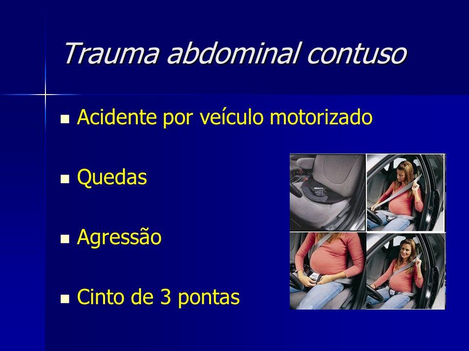 Trauma abdominal contuso Acidente por veículo motorizado Quedas Agressão Cinto de 3 pontas