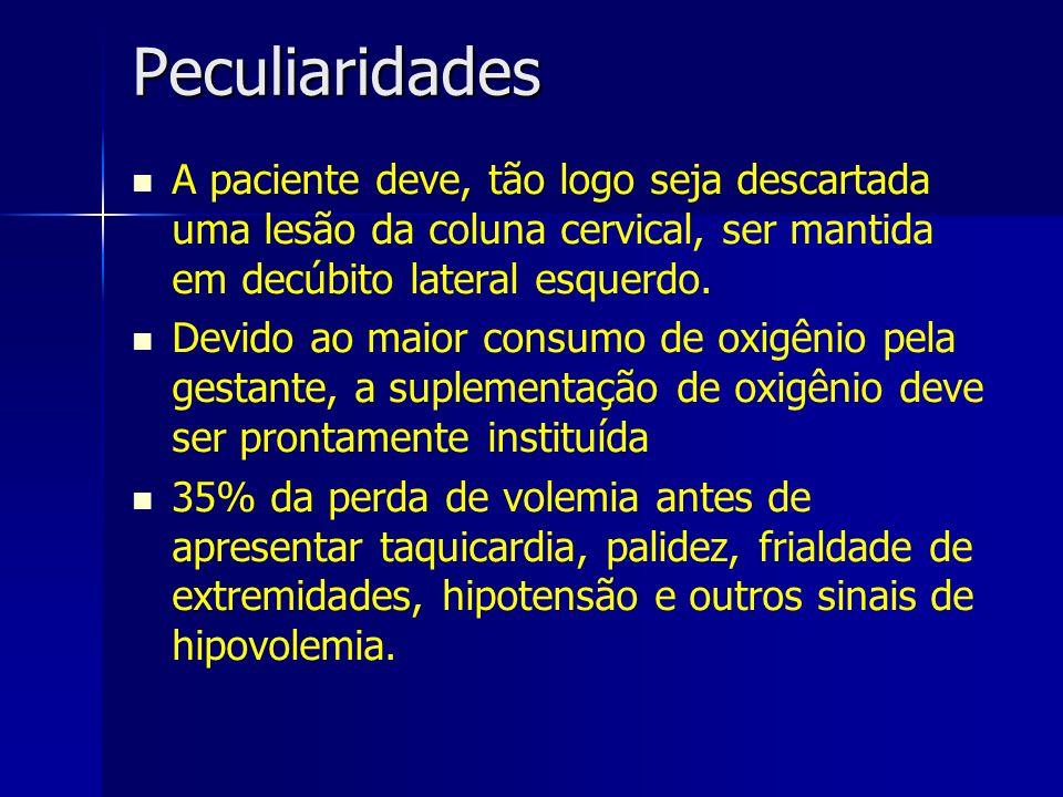 Peculiaridades A paciente deve, tão logo seja descartada uma lesão da coluna cervical, ser mantida em decúbito lateral esquerdo. Devido ao maior consu