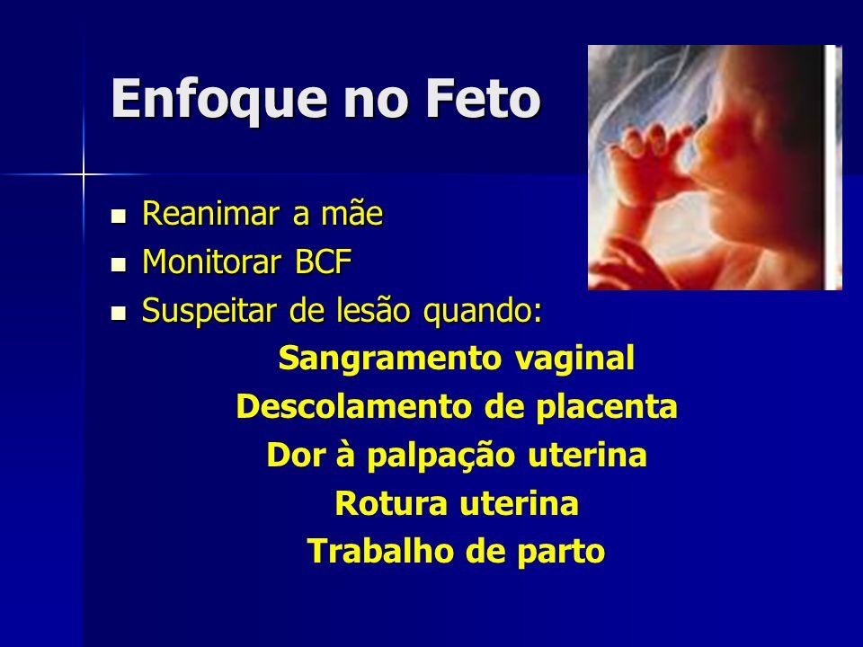 Enfoque no Feto Reanimar a mãe Reanimar a mãe Monitorar BCF Monitorar BCF Suspeitar de lesão quando: Suspeitar de lesão quando: Sangramento vaginal De