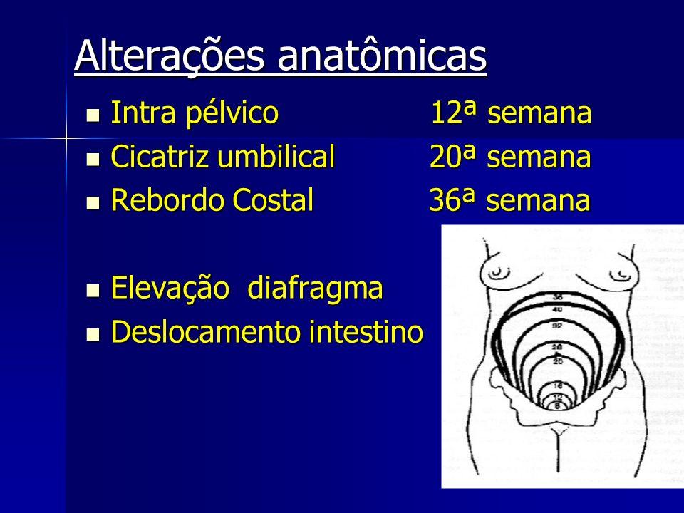 Alterações anatômicas Intra pélvico 12ª semana Intra pélvico 12ª semana Cicatriz umbilical 20ª semana Cicatriz umbilical 20ª semana Rebordo Costal 36ª