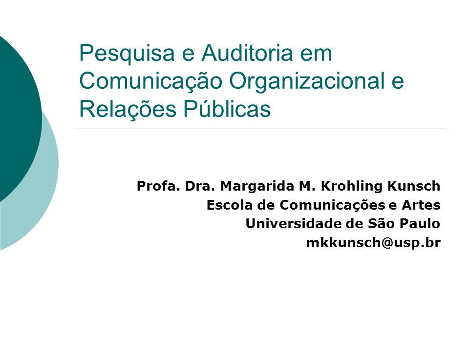 Pesquisa e Auditoria em Comunicação Organizacional e Relações Públicas Profa. Dra. Margarida M. Krohling Kunsch Escola de Comunicações e Artes Univers