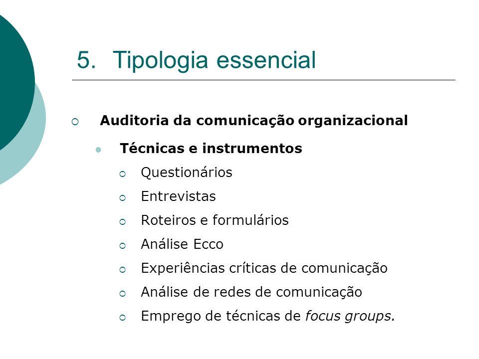 5.Tipologia essencial Auditoria da comunicação organizacional Técnicas e instrumentos Questionários Entrevistas Roteiros e formulários Análise Ecco Ex