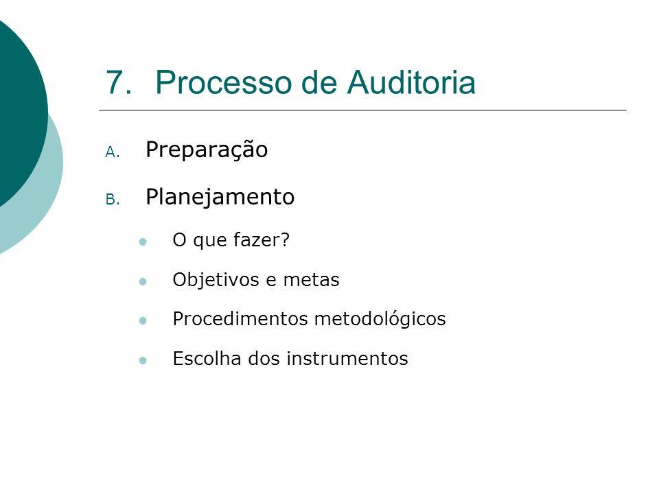 7.Processo de Auditoria A. Preparação B. Planejamento O que fazer? Objetivos e metas Procedimentos metodológicos Escolha dos instrumentos