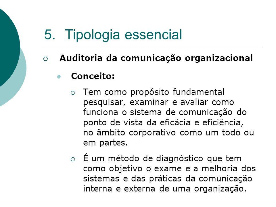 5.Tipologia essencial Auditoria da comunicação organizacional Conceito: Tem como propósito fundamental pesquisar, examinar e avaliar como funciona o s