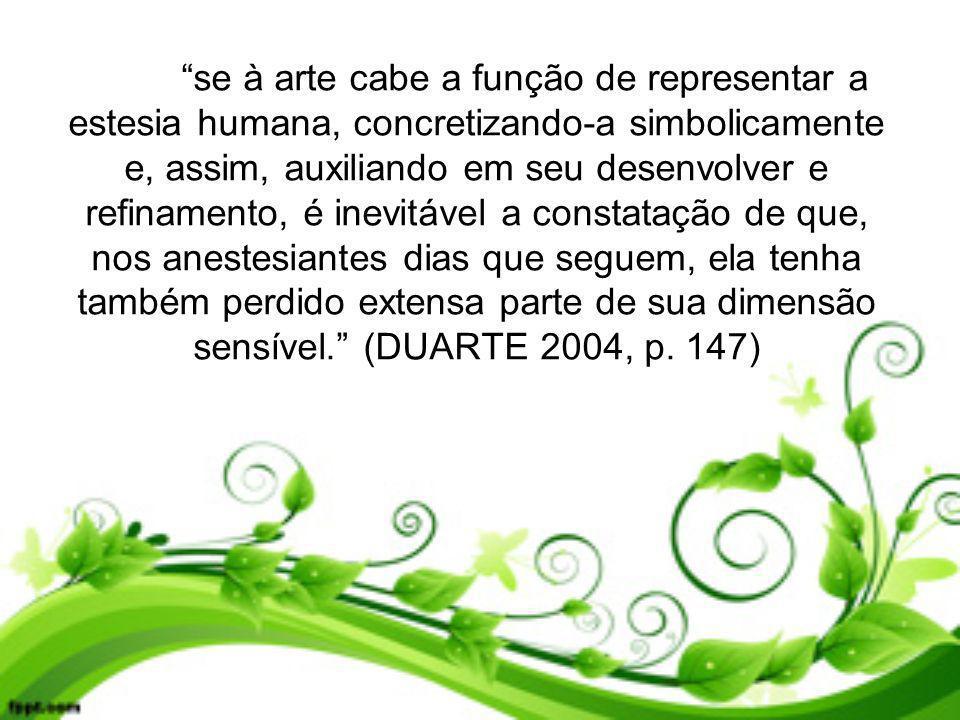 se à arte cabe a função de representar a estesia humana, concretizando-a simbolicamente e, assim, auxiliando em seu desenvolver e refinamento, é inevi