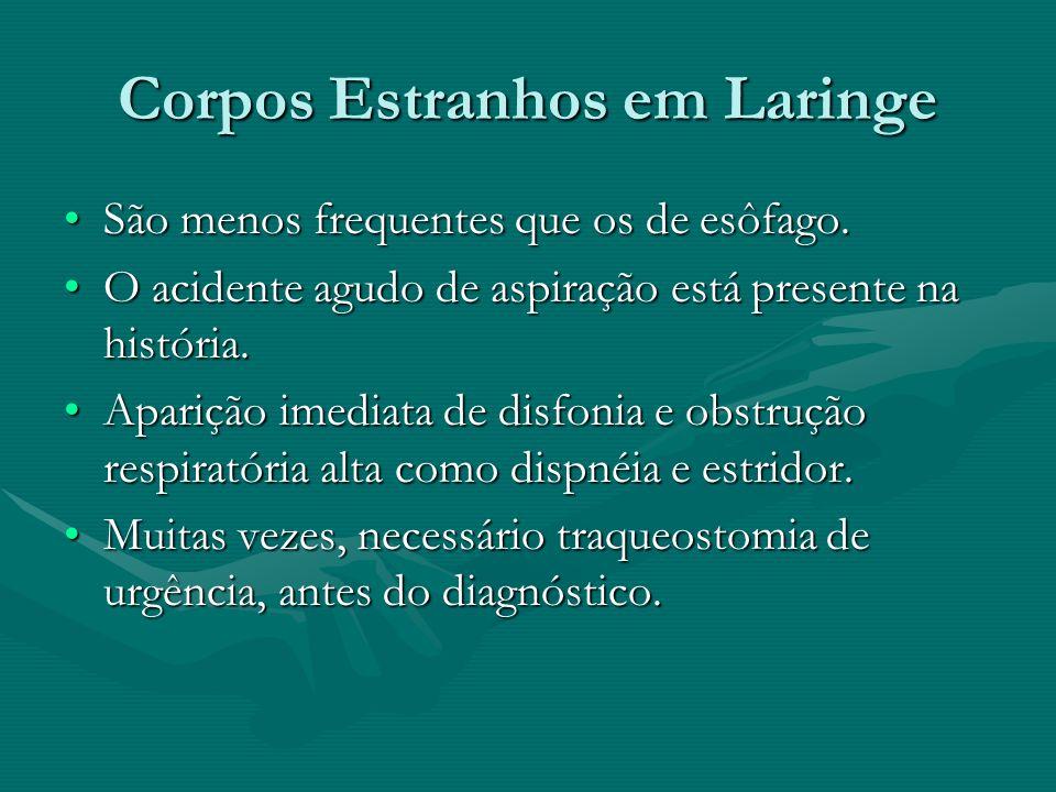 Corpos Estranhos em Laringe São menos frequentes que os de esôfago.São menos frequentes que os de esôfago. O acidente agudo de aspiração está presente