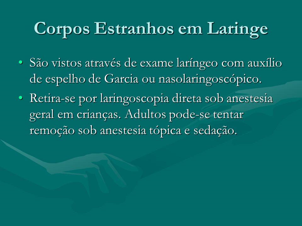 Corpos Estranhos em Laringe São vistos através de exame laríngeo com auxílio de espelho de Garcia ou nasolaringoscópico.São vistos através de exame la