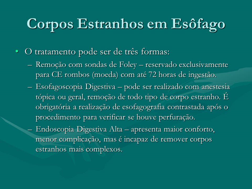 Corpos Estranhos em Esôfago O tratamento pode ser de três formas:O tratamento pode ser de três formas: –Remoção com sondas de Foley – reservado exclus