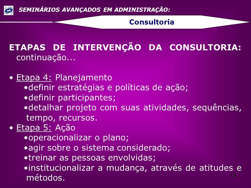 12 SEMINÁRIOS AVANÇADOS EM ADMINISTRAÇÃO: Consultoria ETAPAS DE INTERVENÇÃO DA CONSULTORIA: continuação... Etapa 4: Planejamento definir estratégias e