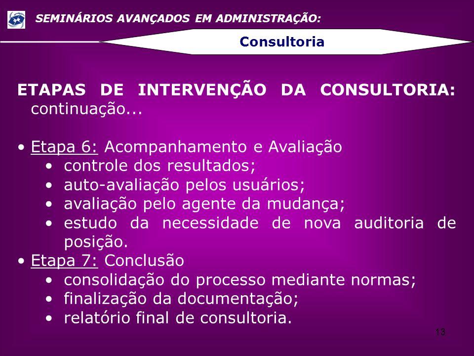13 SEMINÁRIOS AVANÇADOS EM ADMINISTRAÇÃO: Consultoria ETAPAS DE INTERVENÇÃO DA CONSULTORIA: continuação... Etapa 6: Acompanhamento e Avaliação control