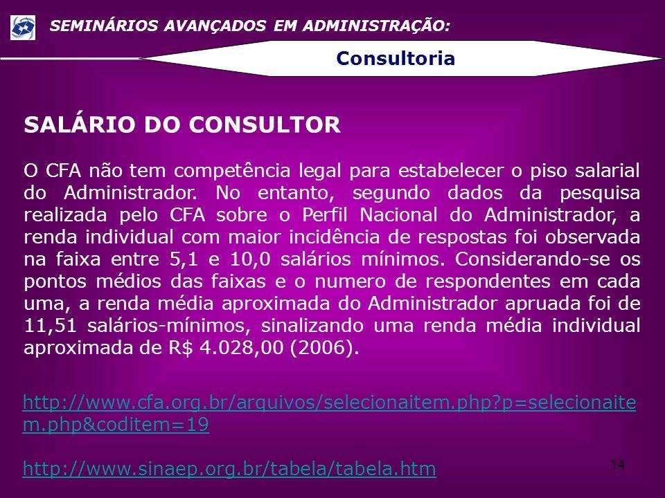 14 SEMINÁRIOS AVANÇADOS EM ADMINISTRAÇÃO: Consultoria SALÁRIO DO CONSULTOR O CFA não tem competência legal para estabelecer o piso salarial do Adminis