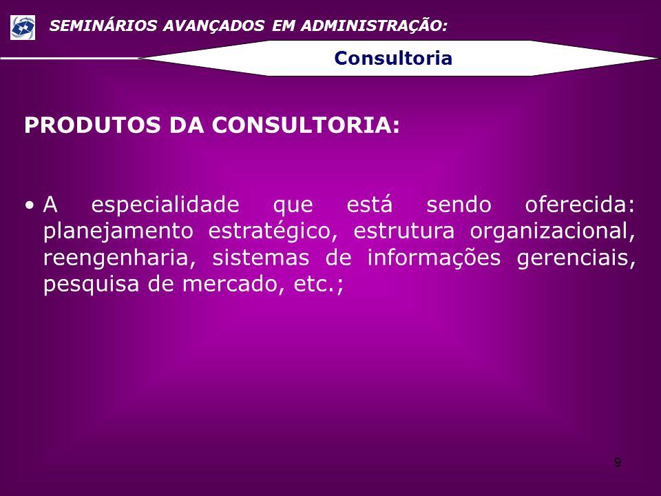9 SEMINÁRIOS AVANÇADOS EM ADMINISTRAÇÃO: Consultoria PRODUTOS DA CONSULTORIA: A especialidade que está sendo oferecida: planejamento estratégico, estr