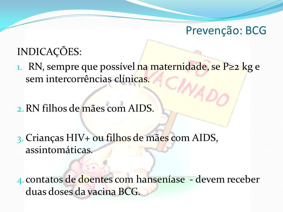Prevenção: BCG INDICAÇÕES: 1.