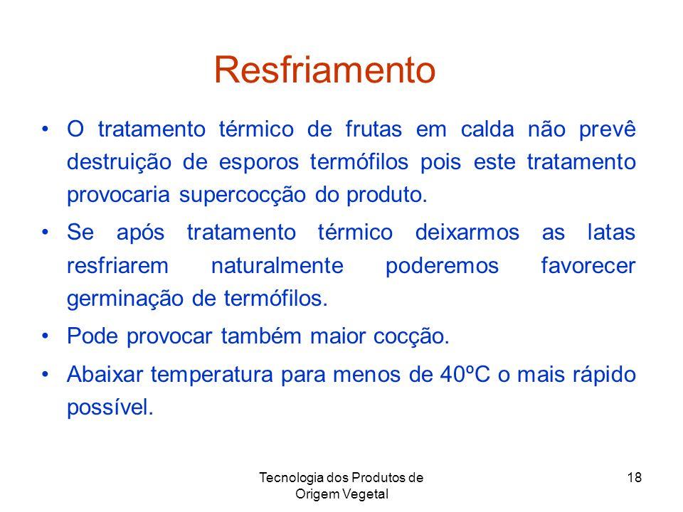 Tecnologia dos Produtos de Origem Vegetal 18 Resfriamento O tratamento térmico de frutas em calda não prevê destruição de esporos termófilos pois este