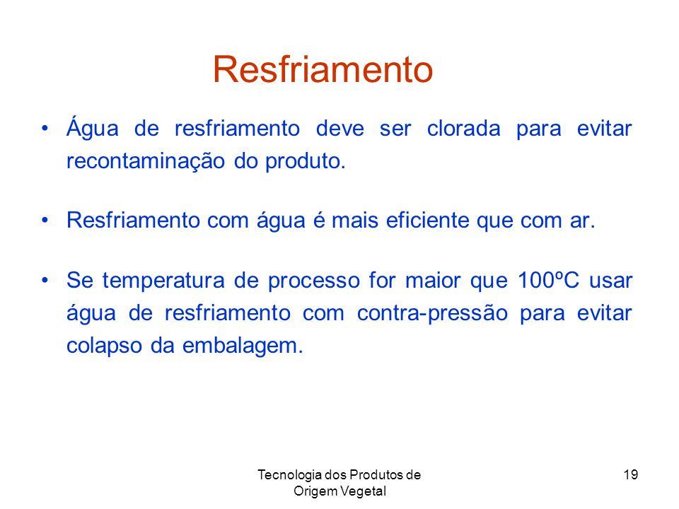Tecnologia dos Produtos de Origem Vegetal 19 Resfriamento Água de resfriamento deve ser clorada para evitar recontaminação do produto. Resfriamento co