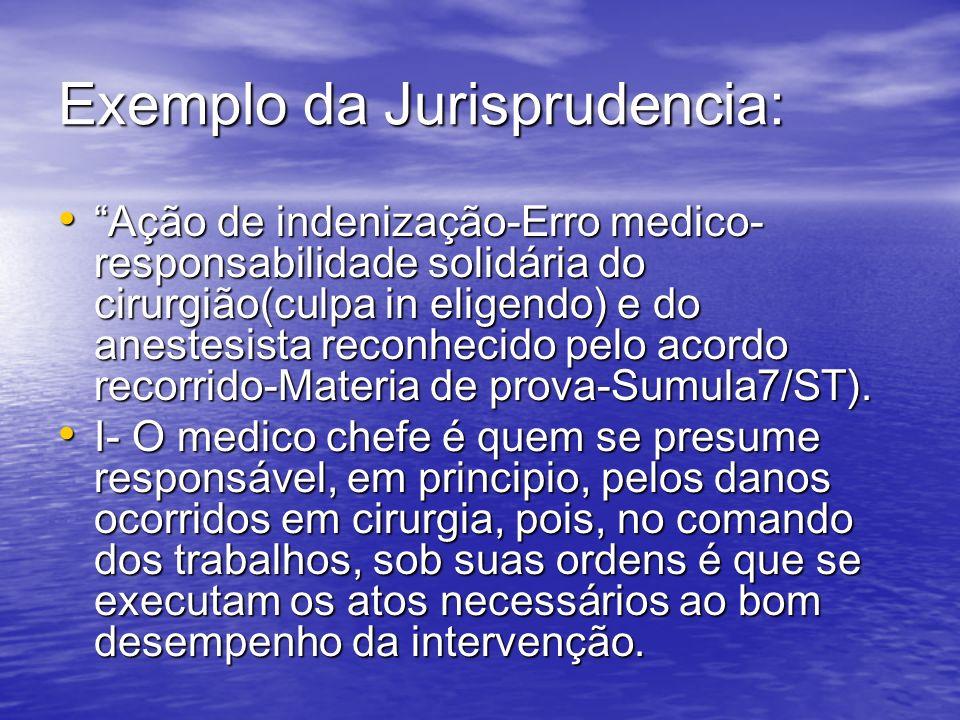 Exemplo da Jurisprudencia: Ação de indenização-Erro medico- responsabilidade solidária do cirurgião(culpa in eligendo) e do anestesista reconhecido pe