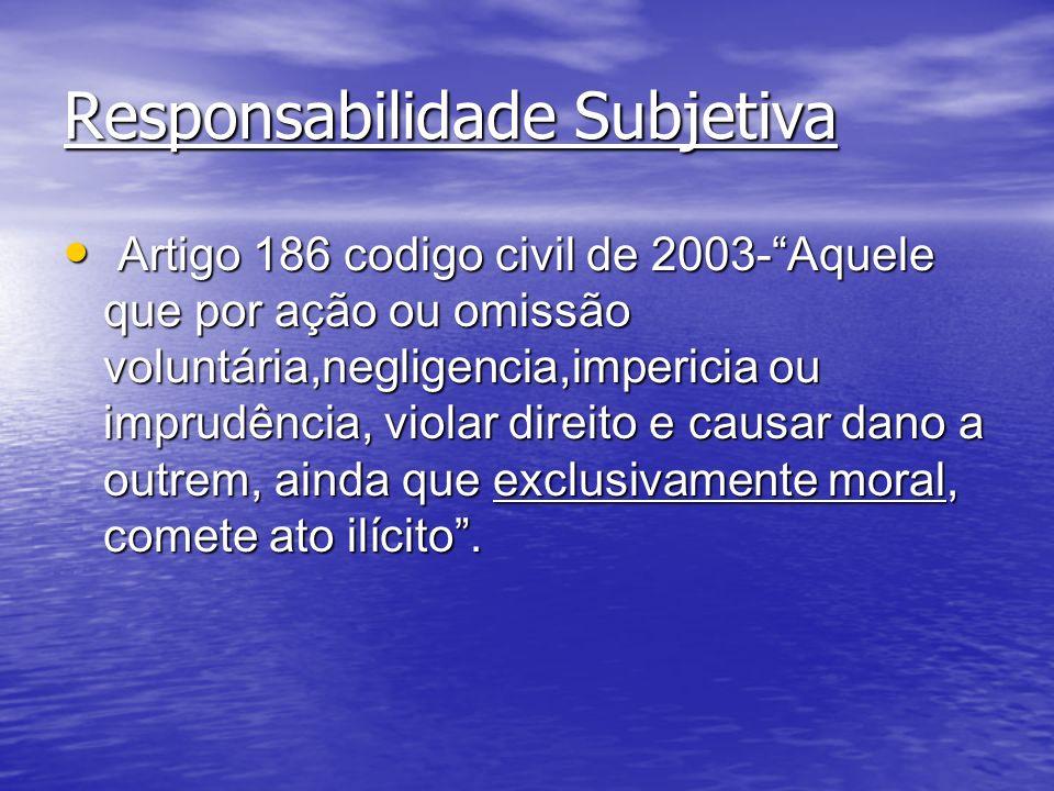 Responsabilidade Subjetiva Artigo 186 codigo civil de 2003-Aquele que por ação ou omissão voluntária,negligencia,impericia ou imprudência, violar dire