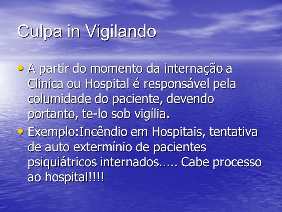Culpa in Vigilando A partir do momento da internação a Clinica ou Hospital é responsável pela columidade do paciente, devendo portanto, te-lo sob vigí