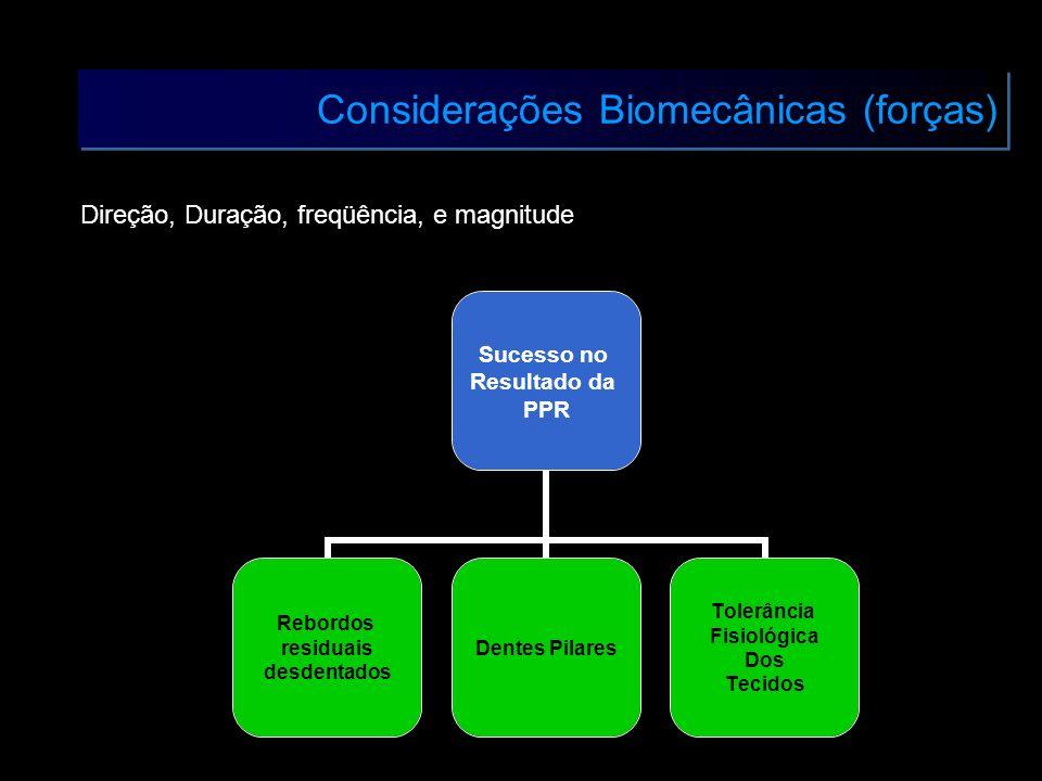 Considerações Biomecânicas (forças) Direção, Duração, freqüência, e magnitude Sucesso no Resultado da PPR Rebordos residuais desdentados Dentes Pilare