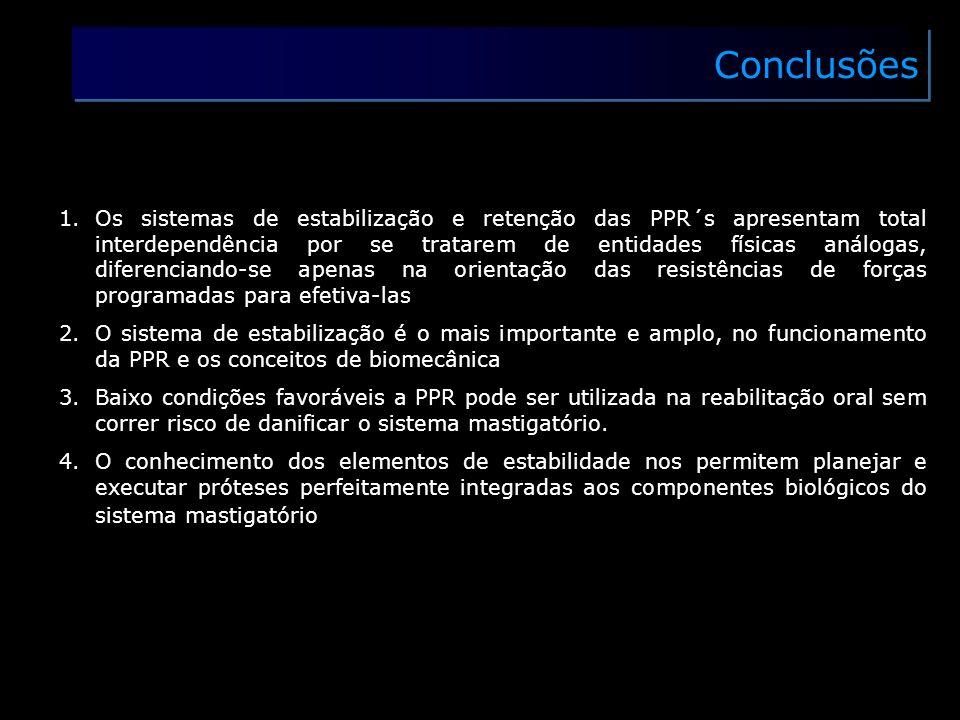 Conclusões 1.Os sistemas de estabilização e retenção das PPR´s apresentam total interdependência por se tratarem de entidades físicas análogas, difere