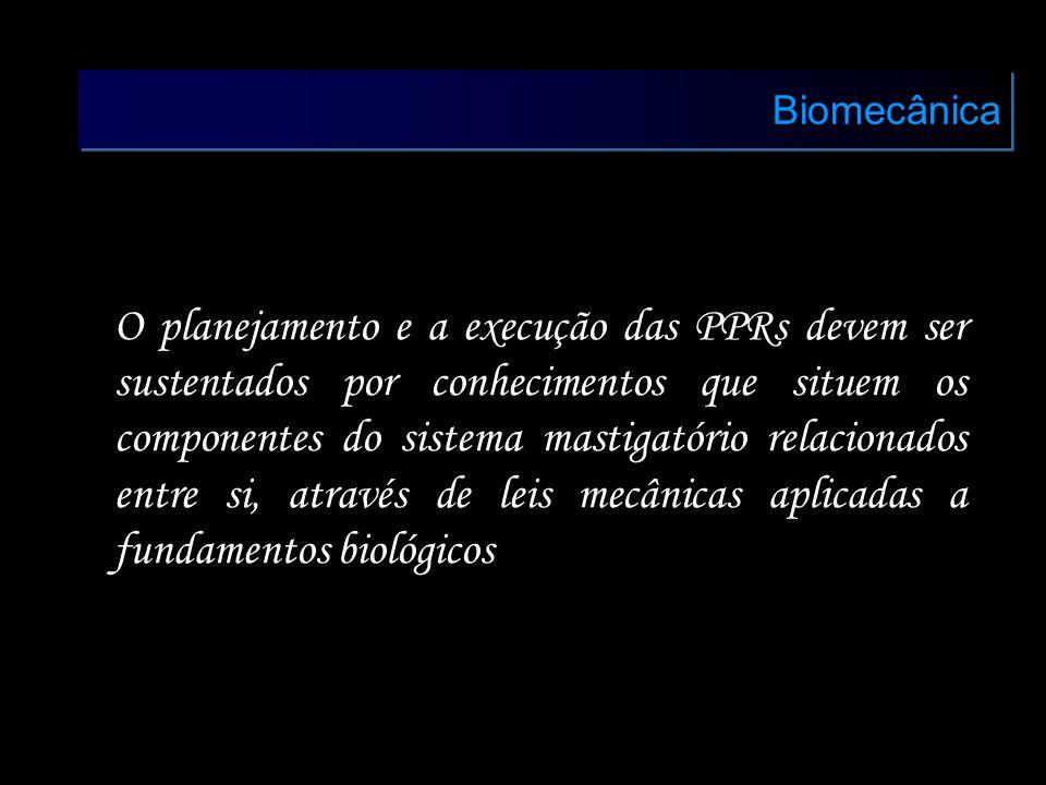 Biomecânica O planejamento e a execução das PPRs devem ser sustentados por conhecimentos que situem os componentes do sistema mastigatório relacionado