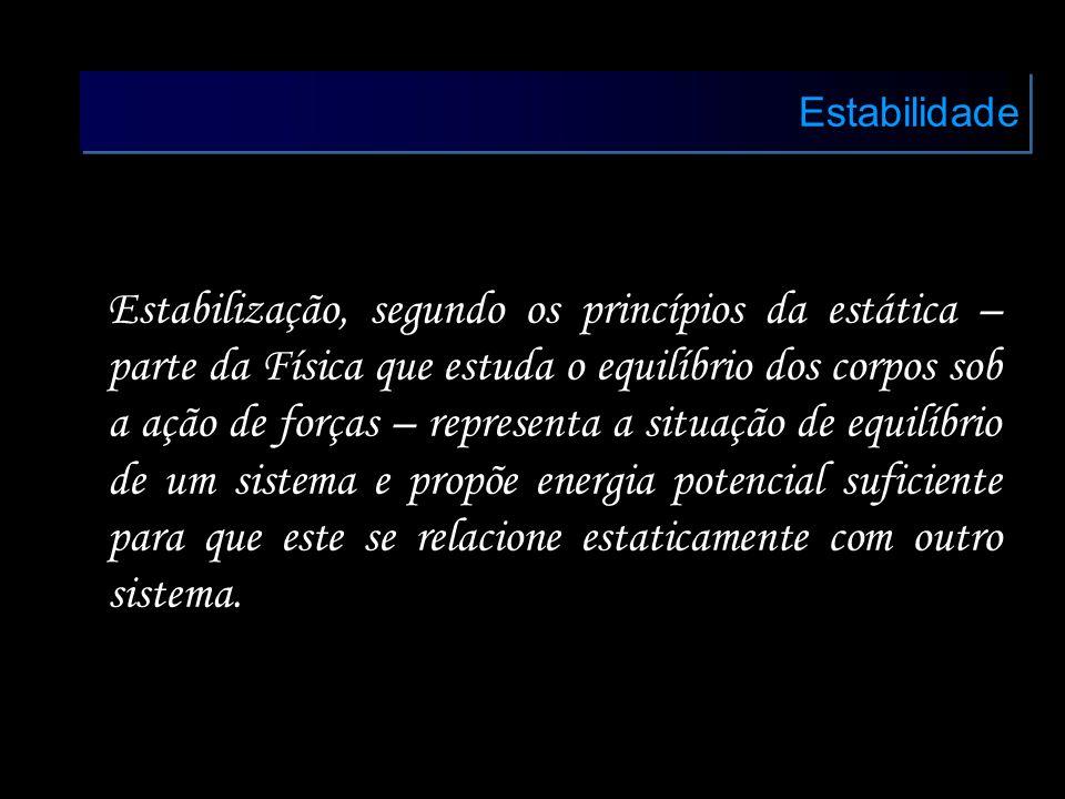 Estabilidade Estabilização, segundo os princípios da estática – parte da Física que estuda o equilíbrio dos corpos sob a ação de forças – representa a