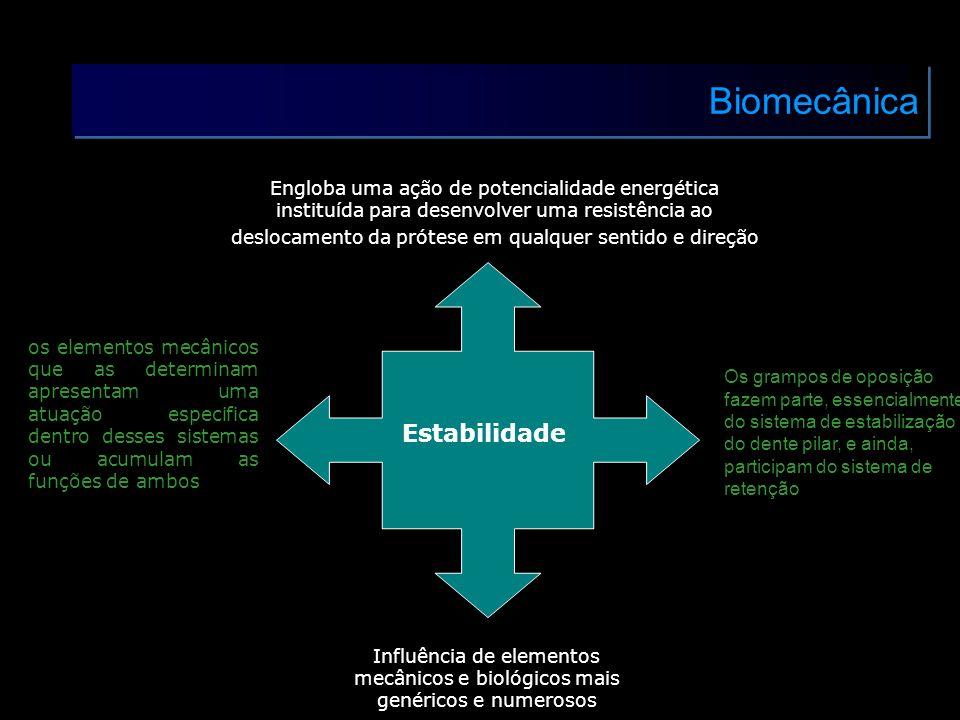 Biomecânica Estabilidade Influência de elementos mecânicos e biológicos mais genéricos e numerosos Engloba uma ação de potencialidade energética insti
