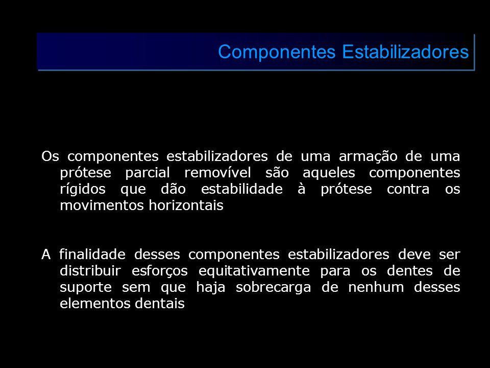 Componentes Estabilizadores Os componentes estabilizadores de uma armação de uma prótese parcial removível são aqueles componentes rígidos que dão est