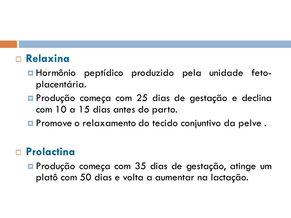 Relaxina Hormônio peptídico produzido pela unidade feto- placentária. Produção começa com 25 dias de gestação e declina com 10 a 15 dias antes do part