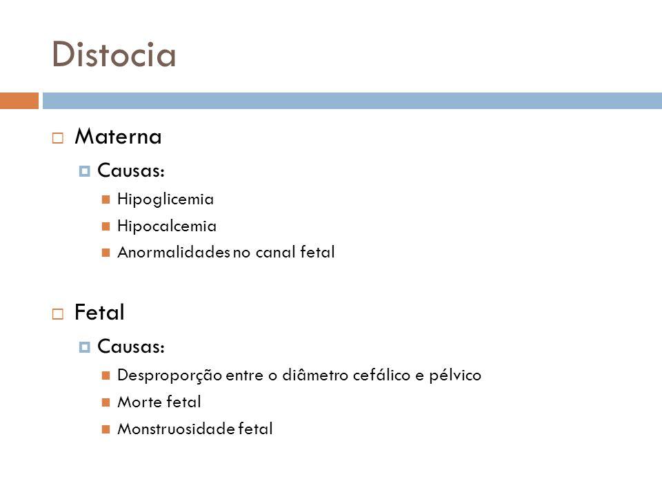 Distocia Materna Causas: Hipoglicemia Hipocalcemia Anormalidades no canal fetal Fetal Causas: Desproporção entre o diâmetro cefálico e pélvico Morte f
