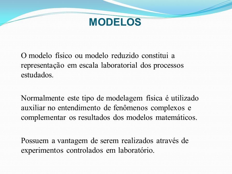 MODELOS O modelo físico ou modelo reduzido constitui a representação em escala laboratorial dos processos estudados. Normalmente este tipo de modelage