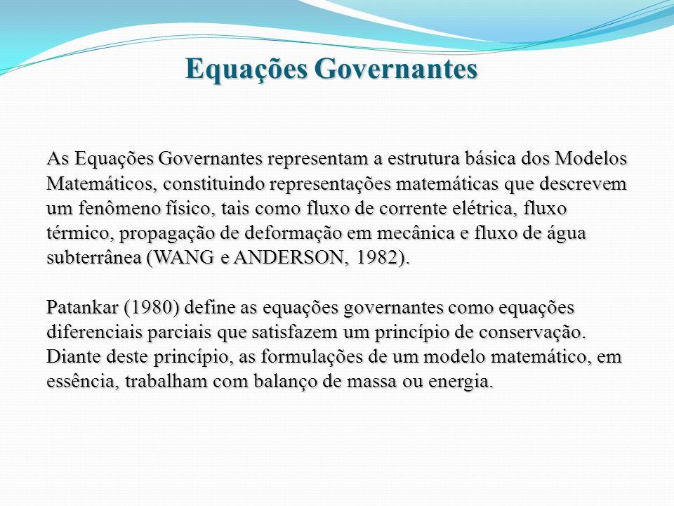 Equações Governantes As Equações Governantes representam a estrutura básica dos Modelos Matemáticos, constituindo representações matemáticas que descr
