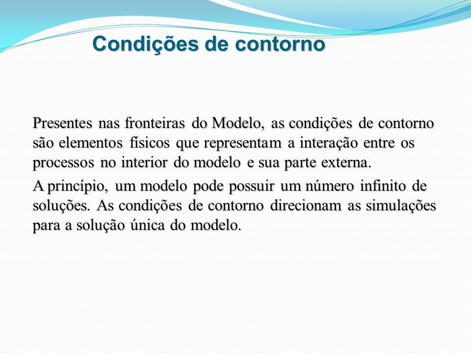 Condições de contorno Presentes nas fronteiras do Modelo, as condições de contorno são elementos físicos que representam a interação entre os processo