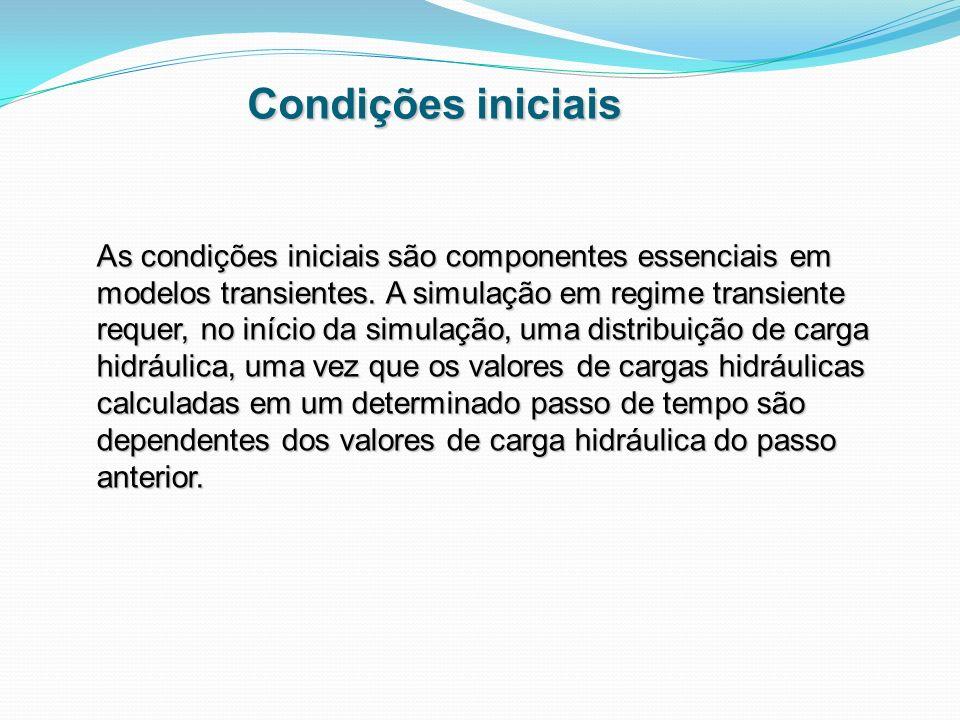 Condições iniciais As condições iniciais são componentes essenciais em modelos transientes. A simulação em regime transiente requer, no início da simu