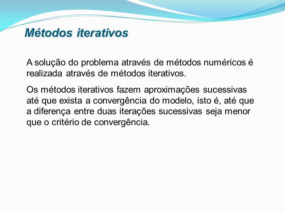 Métodos iterativos A solução do problema através de métodos numéricos é realizada através de métodos iterativos. Os métodos iterativos fazem aproximaç