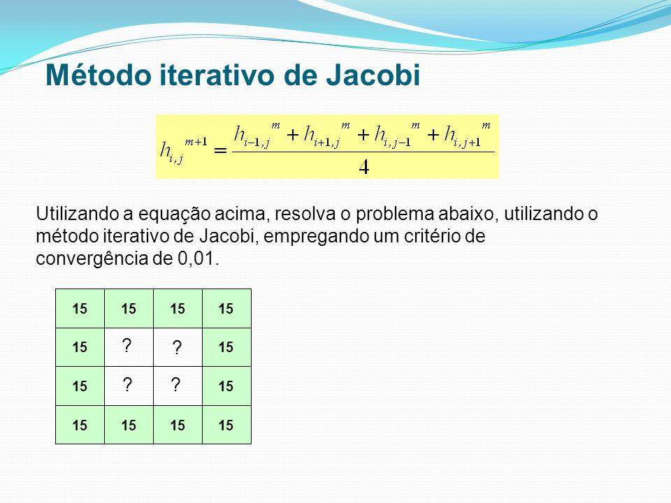 15 Utilizando a equação acima, resolva o problema abaixo, utilizando o método iterativo de Jacobi, empregando um critério de convergência de 0,01. ? ?