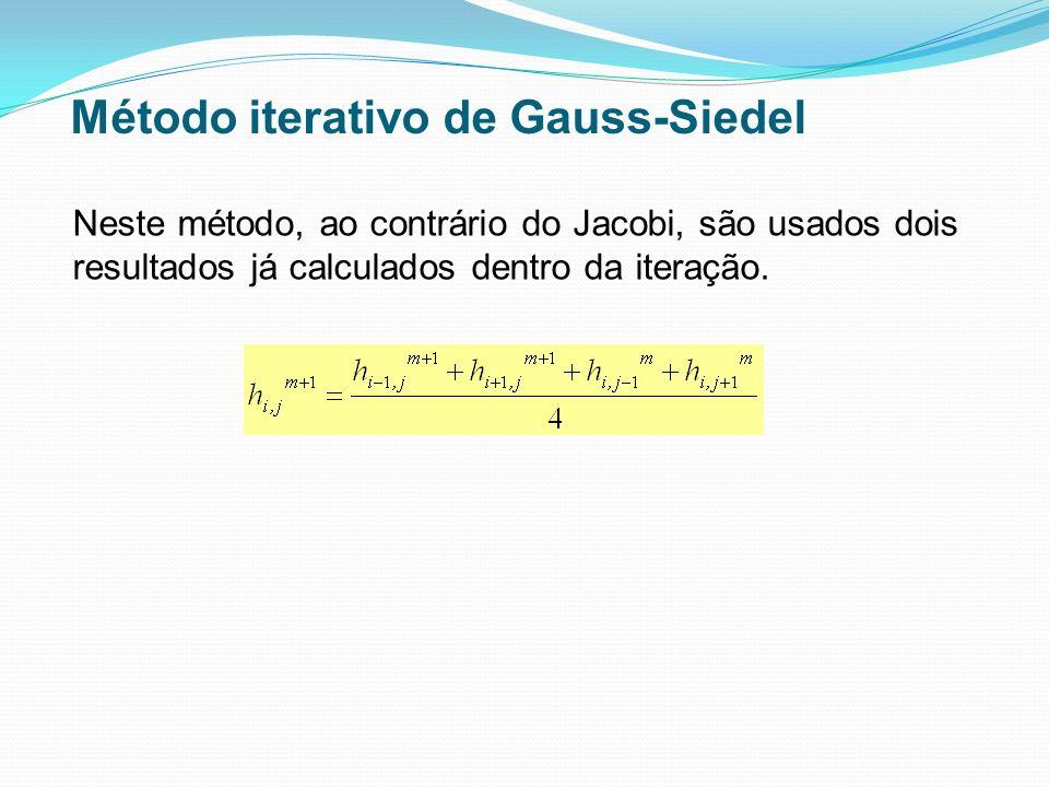Neste método, ao contrário do Jacobi, são usados dois resultados já calculados dentro da iteração. Método iterativo de Gauss-Siedel