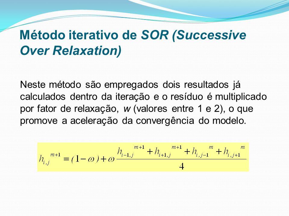 Neste método são empregados dois resultados já calculados dentro da iteração e o resíduo é multiplicado por fator de relaxação, w (valores entre 1 e 2