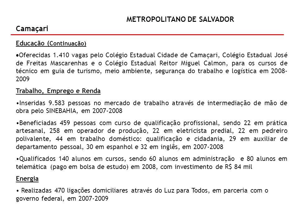 METROPOLITANO DE SALVADOR Camaçari Água para Todos Perfurados quatro poços no período de 2007-2009, com investimento de R$ 1,5 milhão Ampliação do sistema de esgotamento sanitário, com investimento de R$ 36,3 milhões em 2008-2010 Indústria e Comércio Realização de infraestrutura para implantação de empresas industriais – Sudic, com investimento de R$ 584,3 mil em 2009 Serviço de apoio a obras industriais, com investimento de R$ 28 mil em 2009 Conservação de distritos industriais – Sudic, com investimento de R$ 157,5 mil em 2008 Construção de galpão industrial –Sudic, com investimento de R$ 2,2 milhões em 2008 Infraestrutura Obra de infraestrutura viária para implantação de serviço de pesagem de carga em veículos em 2007-2008, com investimento de R$ 2,3 milhões Cultura Apoio a comunidades artesanais em 2008, com investimento de R$ 26,6 mil Em implantação Ponto de Cultura em 2009, com investimento de R$ 90 mil