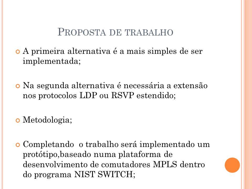 P ROPOSTA DE TRABALHO A primeira alternativa é a mais simples de ser implementada; Na segunda alternativa é necessária a extensão nos protocolos LDP o