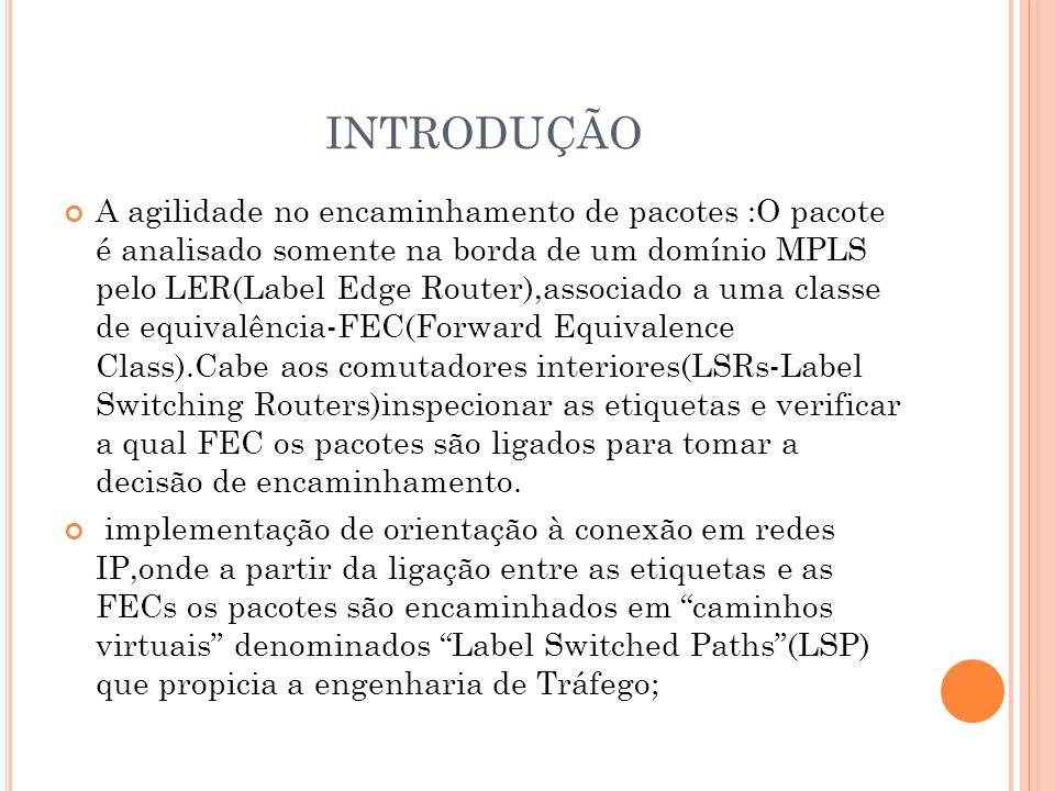 INTRODUÇÃO A agilidade no encaminhamento de pacotes :O pacote é analisado somente na borda de um domínio MPLS pelo LER(Label Edge Router),associado a