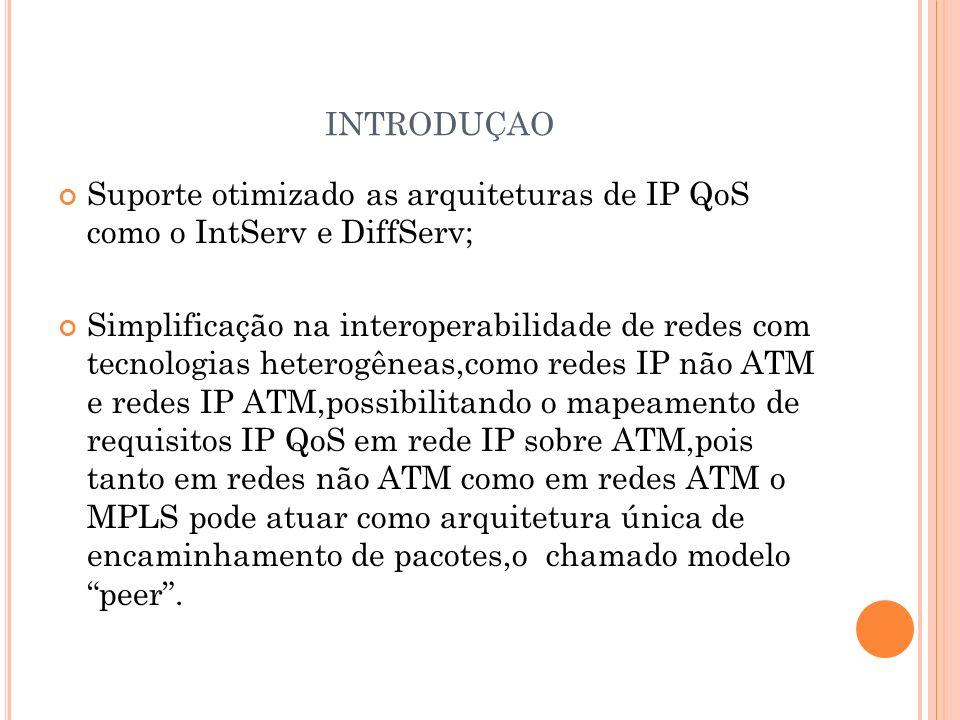 INTRODUÇAO Suporte otimizado as arquiteturas de IP QoS como o IntServ e DiffServ; Simplificação na interoperabilidade de redes com tecnologias heterog