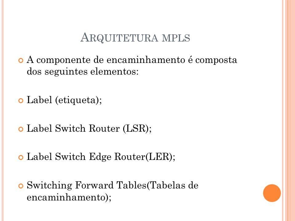 A RQUITETURA MPLS A componente de encaminhamento é composta dos seguintes elementos: Label (etiqueta); Label Switch Router (LSR); Label Switch Edge Ro