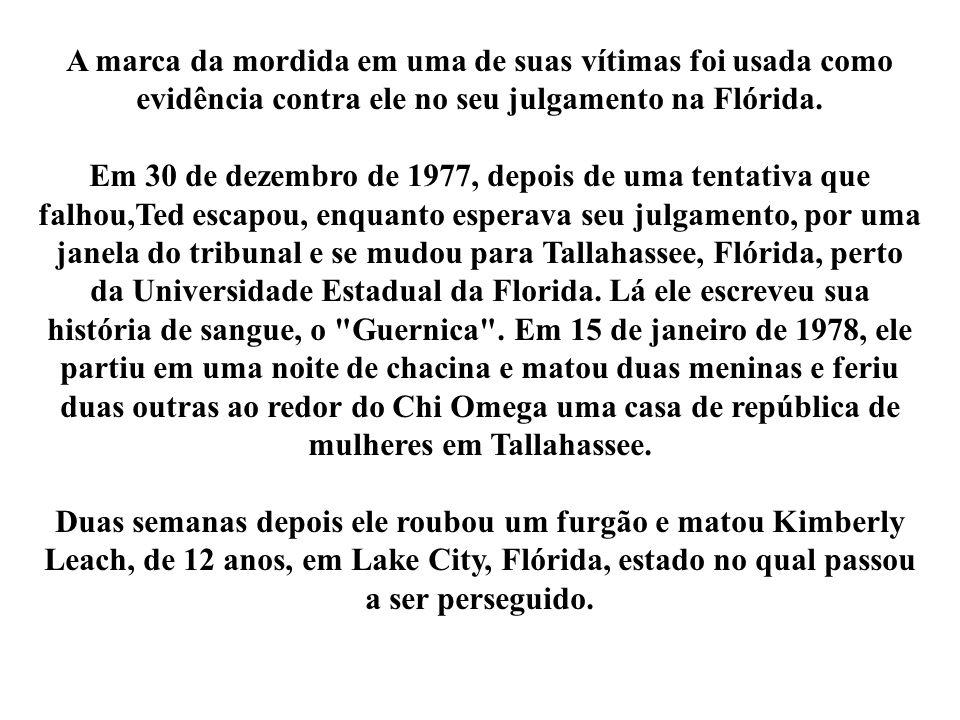 A marca da mordida em uma de suas vítimas foi usada como evidência contra ele no seu julgamento na Flórida. Em 30 de dezembro de 1977, depois de uma t