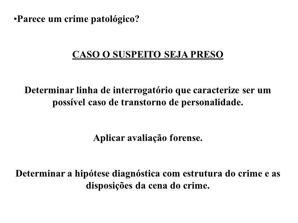 Parece um crime patológico? CASO O SUSPEITO SEJA PRESO Determinar linha de interrogatório que caracterize ser um possível caso de transtorno de person