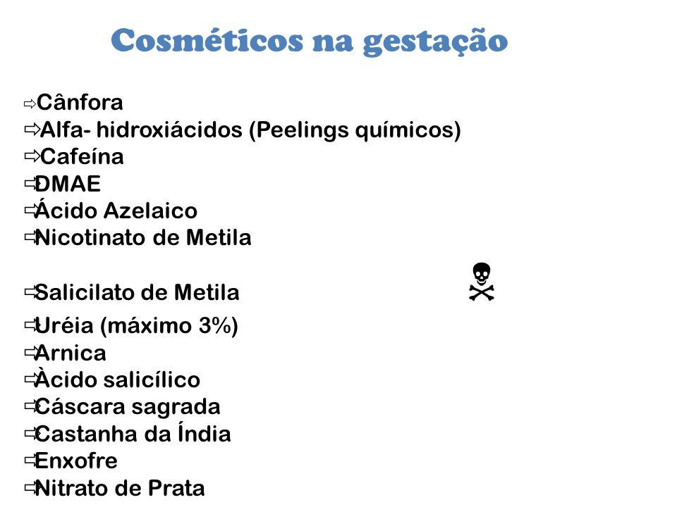 Cosméticos na gestação Cânfora Alfa- hidroxiácidos (Peelings químicos) Cafeína DMAE Ácido Azelaico Nicotinato de Metila Salicilato de Metila Uréia (má