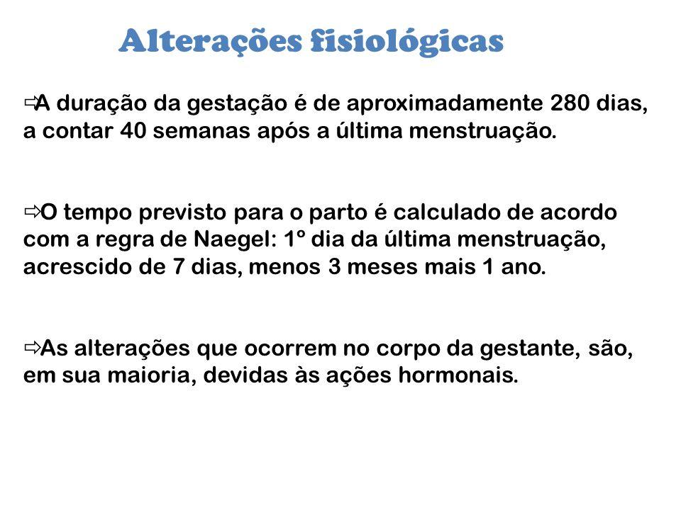 Alterações fisiológicas A duração da gestação é de aproximadamente 280 dias, a contar 40 semanas após a última menstruação. O tempo previsto para o pa