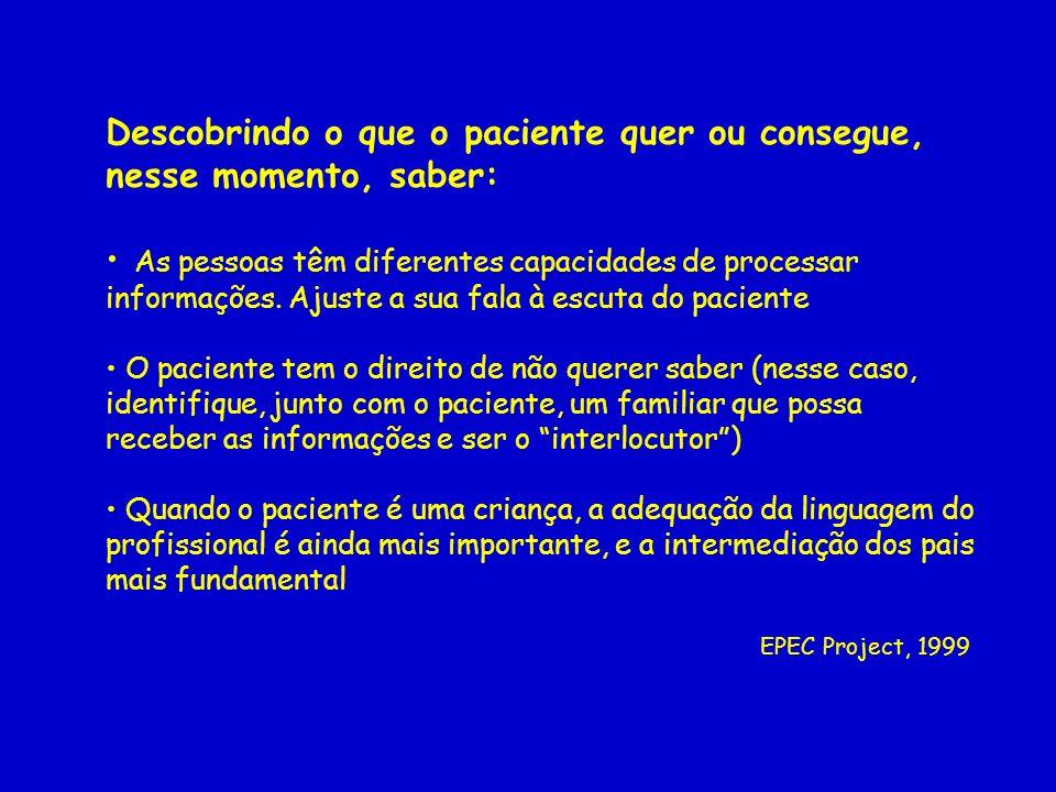 Descobrindo o que o paciente quer ou consegue, nesse momento, saber: As pessoas têm diferentes capacidades de processar informações. Ajuste a sua fala