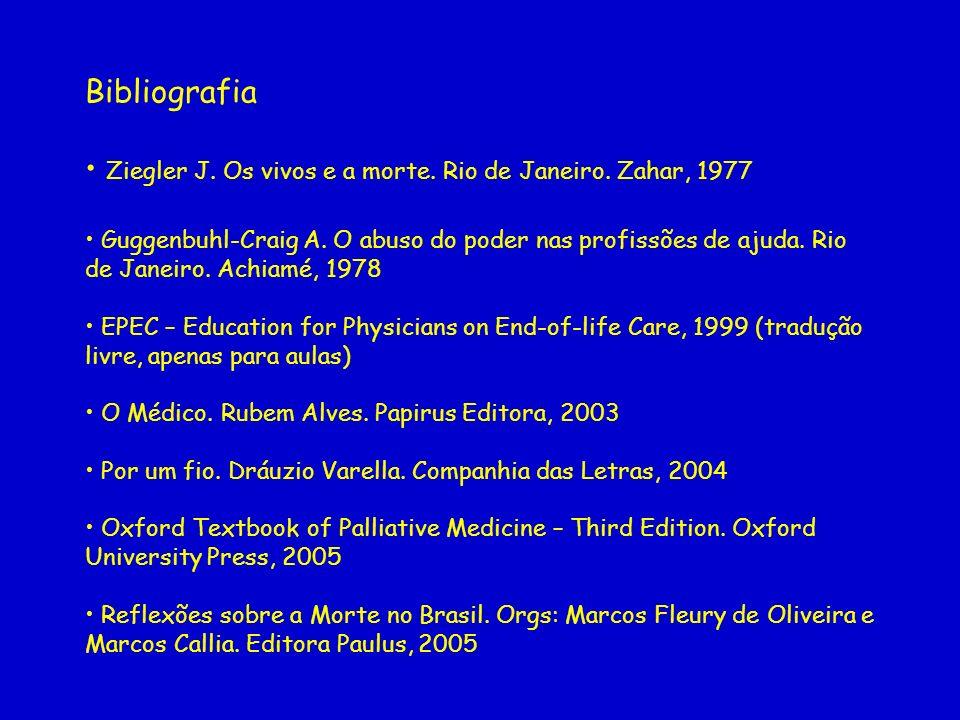 Bibliografia Ziegler J. Os vivos e a morte. Rio de Janeiro. Zahar, 1977 Guggenbuhl-Craig A. O abuso do poder nas profissões de ajuda. Rio de Janeiro.