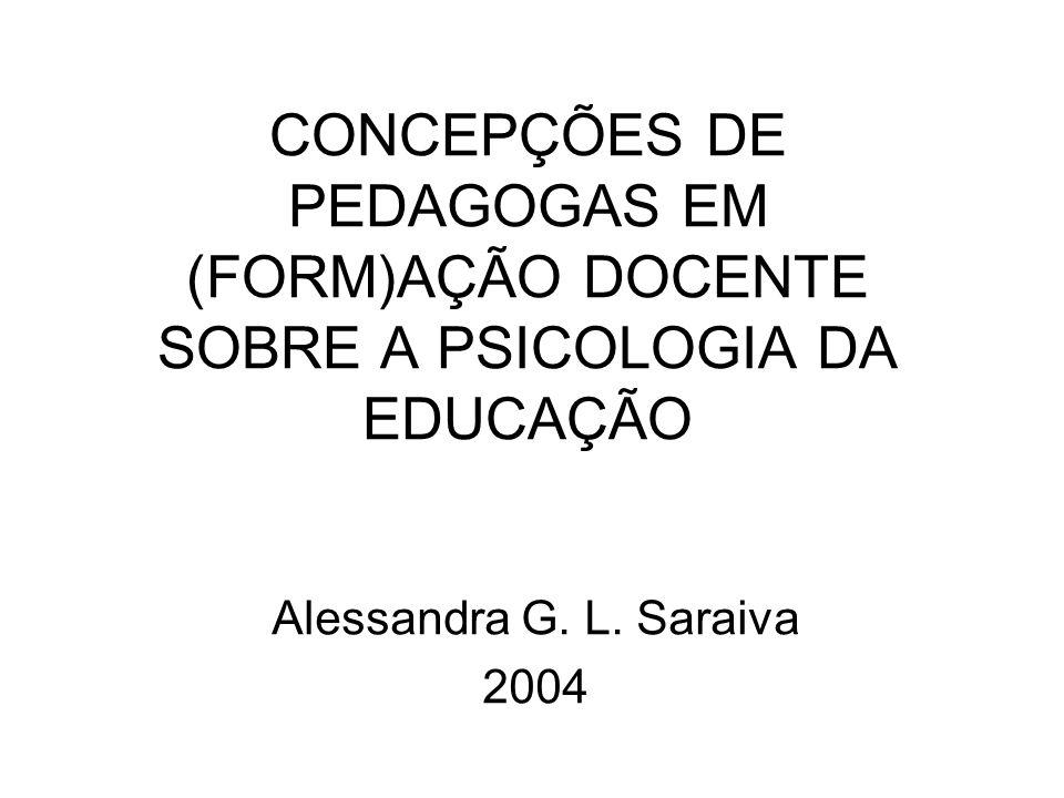 CONCEPÇÕES DE PEDAGOGAS EM (FORM)AÇÃO DOCENTE SOBRE A PSICOLOGIA DA EDUCAÇÃO Alessandra G. L. Saraiva 2004